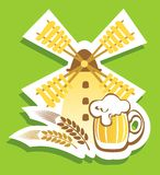 Beer with windmill Stock Image