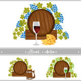 Beer wine barrel collection set Royalty Free Stock Photos