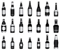 Beer wine bottles green. This is a collection of different beer and wine bottles with green and silver color shade. All bottles are designed in a same theme to Royalty Free Stock Photography