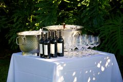 Beer and wine. Set up for an outdoor wedding Stock Images