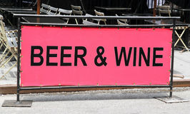 Beer and wine sign. Beer and wine sign in front of a Royalty Free Stock Photos