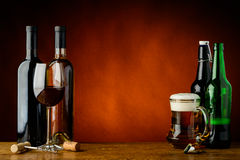 Beer and wine. Still life with beer and wine and text copy space Stock Images