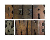 Beer and Wine. The words BEER AND WINE written in vintage letterpress type Stock Images
