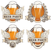 Beer and wings. Set of four banners with beer and wings Stock Photo