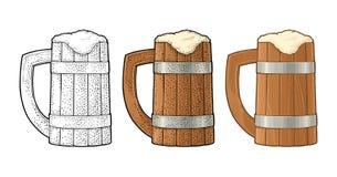 Beer wood mug. Vintage color vector engraving illustration. royalty free illustration