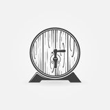 Beer wooden barrel logo or icon. Vector black pub, brewery symbol royalty free illustration