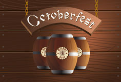 Beer Wooden Barrel Oktoberfest Festival Banner Royalty Free Stock Photography