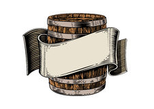 Beer wooden barrel and ribbon. Drawing of beer wooden barrel and beige ribbon on the white stock illustration