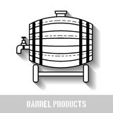 Beer wooden barrel with a tap. Linear, black and white, flat icon, object with a shadow. Beer wooden barrel with a tap. Linear, black and white, flat icon with a Royalty Free Stock Image