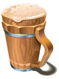 Beer wooden cup. Wooden cup or tankard full of beer, with froth head, photo-real vector illustration Stock Image