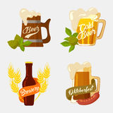 Beer in wooden and glassware mug with foam, bottle. With brewery ribbon and hop or barley, sausage for snack. Set of logotypes for restaurant and oktoberfest Royalty Free Stock Photo