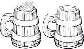 Beer wooden mug Stock Photography