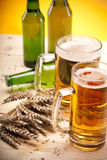 Beer on wooden table Royalty Free Stock Photo