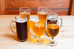 Beer on wooden table. Selective focus Royalty Free Stock Images