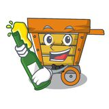 With beer wooden trolley mascot cartoon. Vector illustration stock illustration
