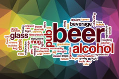 Beer word cloud with abstract background Royalty Free Stock Images