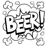Beer word comic book coloring vector illustration. Beer word coloring vector illustration. Isolated image on white background. Comic book style imitation Stock Images