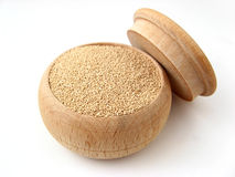 Beer Yeast. In wooden pot over white Royalty Free Stock Photography