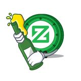 With beer Zcoin mascot cartoon style. Vector illustration Stock Image