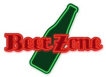 Beer Zone Neon. Sign with Red neon lettering and green beer bottle for bars bubs and man caves stock illustration