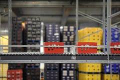 Beerbottele crates on a conveyor belt Stock Image