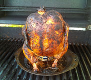 Beercan chicken. A beer can chicken on the grill Stock Image