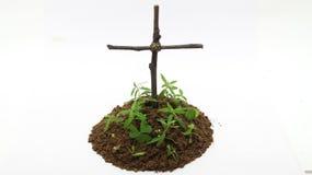 Beerdigung mit Kreuz im weißen Hintergrund stockfoto