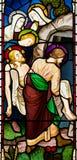 Beerdigung von Jesus Christ Stained Glass Window lizenzfreies stockfoto