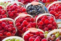 Beeren in den Körben für Verkauf am Markt Lizenzfreies Stockfoto