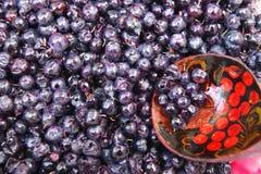 Beeren Heidelbeere und Löffel Ernte des Beerenheidelbeerhintergrundes stockfoto