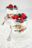 Beeren, Jogurt und Plätzchenparfaits Stockbilder