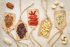 Beeren, Nüsse, Körner und Samen - superfood Zusammenfassung Stockfoto