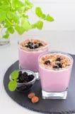 Beerenjoghurt mit muesli Lizenzfreie Stockfotografie