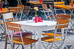 Beergarden. Table and chairs at a cafe Stock Image
