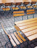 Beergarden. Folding chairs at a beergarden Royalty Free Stock Photos