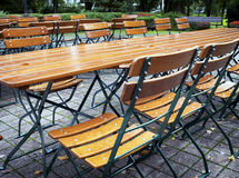 Beergarden. Folding chairs at a beergarden Stock Photo