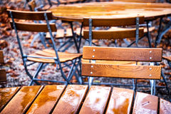 Beergarden. Folding chairs at a beergarden Royalty Free Stock Photo