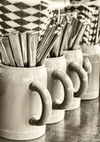 Beergarden. Typical mug and silverware at a bavarian beergarden Stock Image