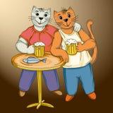 Beerlover drôle du chat deux Photos libres de droits
