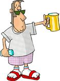 Beerman. This illustration that I created depicts a man carrying a pitcher of beer in one hand and a glass in the other Stock Photo