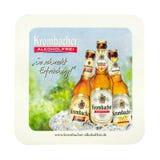 Beermat de Krombacher Aislado en el fondo blanco Imagen de archivo