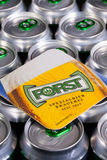 Beermat from Forst beer on the cans. Illustrative- editorial Stock Photo