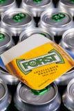 Beermat från Forst öl på cansna Illustrativ ledare arkivfoto