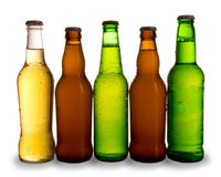 Beers bottles. Detail of bottles of beers, isolated on white background Royalty Free Stock Photos