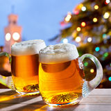 Beers and Christmas tree Royalty Free Stock Images