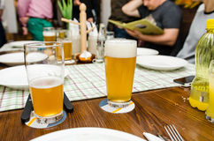 Beers in a german restaurant Stock Image