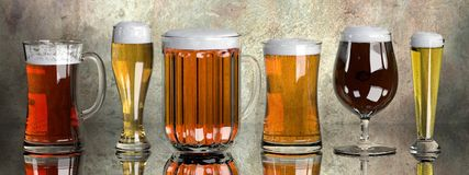 Beers in glass set Stock Photography