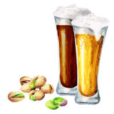 Beers and pistachio nuts. Watercolor. Hand-drawn illustration Royalty Free Stock Photos