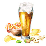 Beers and snacks. Watercolor. Hand-drawn illustration Stock Images