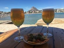 Drinks and Tapas in Javea Spain. I captured this view in a bar along the waterfront when on holiday in Javea, Spain stock images